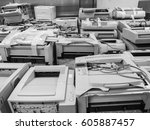 black and white wide shot of... | Shutterstock . vector #605887457