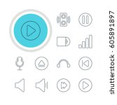 vector illustration of 12 music ... | Shutterstock .eps vector #605891897