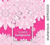 spring congratulatory floral... | Shutterstock .eps vector #605903333