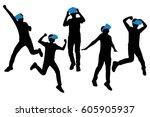 silhouette of man wear vr... | Shutterstock .eps vector #605905937