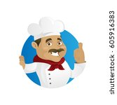 chef giving thumb up isolated... | Shutterstock .eps vector #605916383