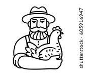 farmer holding chicken logo.... | Shutterstock .eps vector #605916947