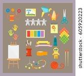themed kids creativity creation ... | Shutterstock .eps vector #605920223
