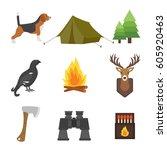 set of vintage hunting symbols...   Shutterstock .eps vector #605920463