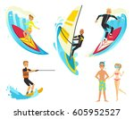 happy people on vacation.... | Shutterstock .eps vector #605952527