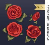 red roses with water drops...   Shutterstock .eps vector #605960117