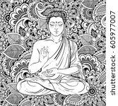 sitting buddha over ornate... | Shutterstock .eps vector #605977007