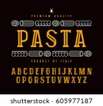 decorative slab serif font in... | Shutterstock .eps vector #605977187