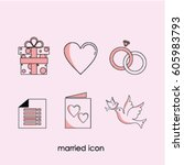 married icon logo vector... | Shutterstock .eps vector #605983793
