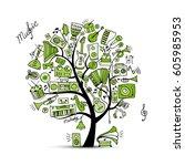music instruments tree  sketch... | Shutterstock .eps vector #605985953