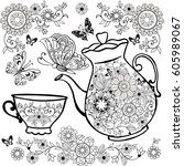 flower tea in the teapot... | Shutterstock .eps vector #605989067