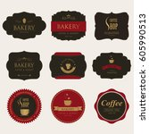 set of coffee and bakery label... | Shutterstock .eps vector #605990513