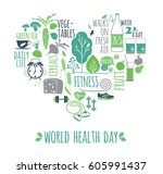 world health day concept... | Shutterstock .eps vector #605991437