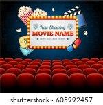 cinema movie retro concept with ... | Shutterstock .eps vector #605992457
