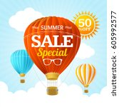 summer sale concept labels or... | Shutterstock .eps vector #605992577