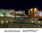 night view on jaffa gate in old ... | Shutterstock . vector #605999027
