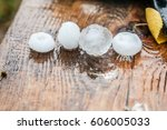 very large hail in the hands | Shutterstock . vector #606005033
