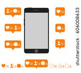 like follow comment icons with... | Shutterstock .eps vector #606008633