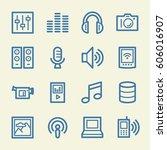 media web icons set   Shutterstock .eps vector #606016907