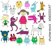 set of funny characters.... | Shutterstock .eps vector #606020147