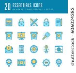 line icons set. flat thin...   Shutterstock .eps vector #606024383