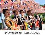 Small photo of Kota Kinabalu, Malaysia - January 20, 2017: A group of Dusun Tindal ethnic of Kota Belud pose for guests during the State Celeberation in Kota Kinabalu, Sabah.