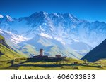 a fascinating view on ushguli...   Shutterstock . vector #606033833