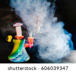 dab rig with smoke | Shutterstock . vector #606039347