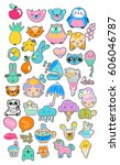 collection of children doodles  ... | Shutterstock .eps vector #606046787