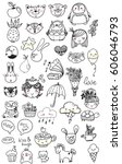 collection of children doodles  ... | Shutterstock .eps vector #606046793