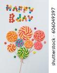 happy b day lollipop candy... | Shutterstock . vector #606049397