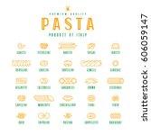 set of icons varieties of pasta.... | Shutterstock .eps vector #606059147