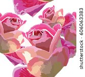 painted pink roses buds ... | Shutterstock .eps vector #606063383