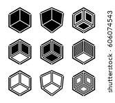 3d isometric empty room corner...   Shutterstock .eps vector #606074543
