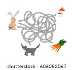 kids maze. help the rabbit to... | Shutterstock .eps vector #606082067