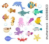 cartoon trendy colorful reef... | Shutterstock .eps vector #606088823