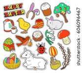 happy easter decorative... | Shutterstock .eps vector #606096467