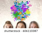 thoughtful guys and girls on... | Shutterstock . vector #606110387