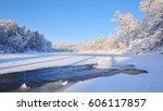 Frozen Gauja River View...