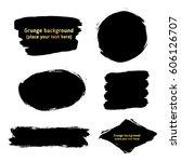 set of black  ink paint brush... | Shutterstock .eps vector #606126707