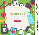 fitness and health banner.... | Shutterstock . vector #606129887