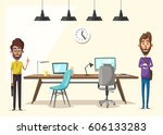 modern workplace. creative... | Shutterstock .eps vector #606133283