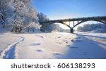 view of a bridge over a frozen... | Shutterstock . vector #606138293