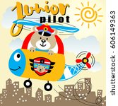 bear the helicopter junior... | Shutterstock .eps vector #606149363