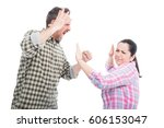 Small photo of Married couple having a fight or altercation as domestic violence concept isolated on white