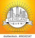 minimal cleveland linear city... | Shutterstock .eps vector #606162167