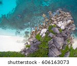 seychelles island white... | Shutterstock . vector #606163073
