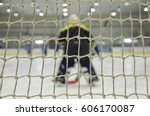 Small photo of Hockey goalie and goal net