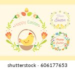 happy easter hand drawn badge... | Shutterstock .eps vector #606177653