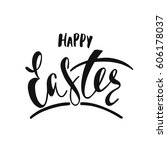 happy easter greeting card.... | Shutterstock .eps vector #606178037